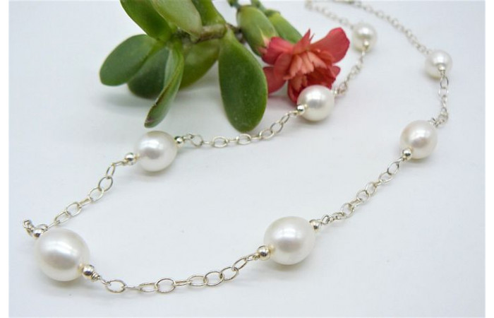 White Large Oval Pearls on Sterling Silver Chain Necklace