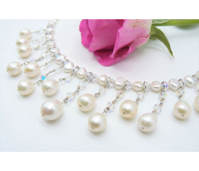 White Pearl & Crystal Cascade Necklace