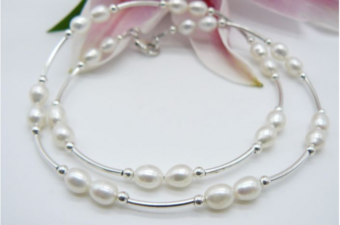 White Small Oval Pearl & Sterling Silver Curved Tube Necklace
