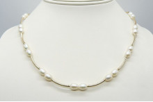 White Small Oval Pearl & Gold Curved Tube Necklace