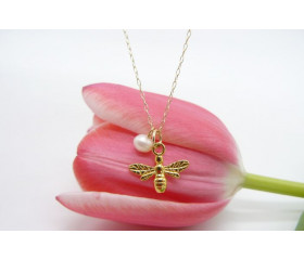 Gold Bee & Pearl Pendant Necklace