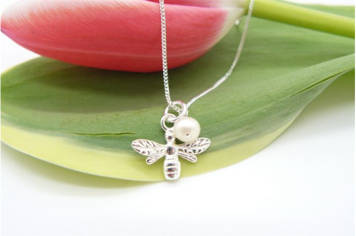 Sterling Silver Bee & Pearl Pendant Necklace
