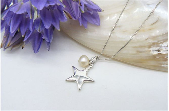 Sterling Silver Star & Pearl Pendant Necklace