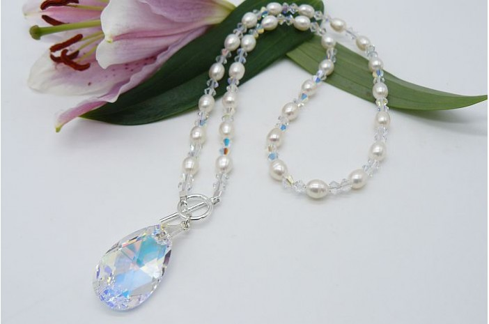 Swarovski Crystal & Pearl Pendant Necklace