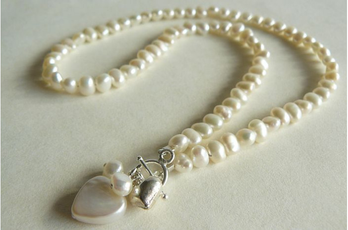 White Pearl with Pearl Heart Drop Necklace