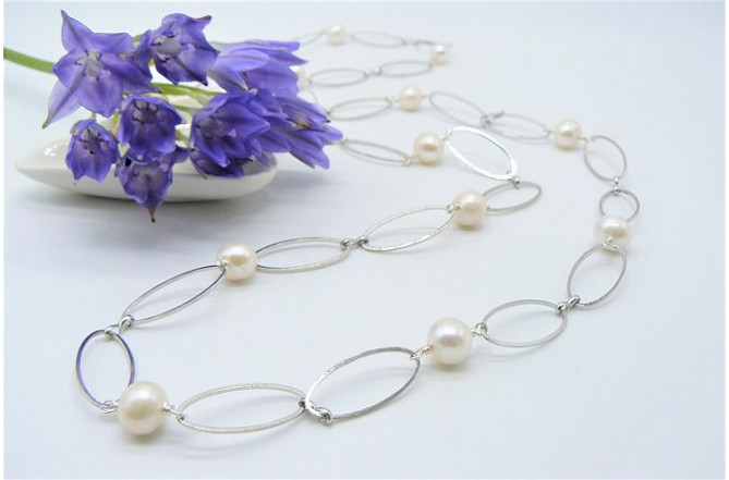 Round Pearl Necklace on Silver Plated Chain