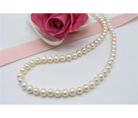 White Small Round Pearl Necklace
