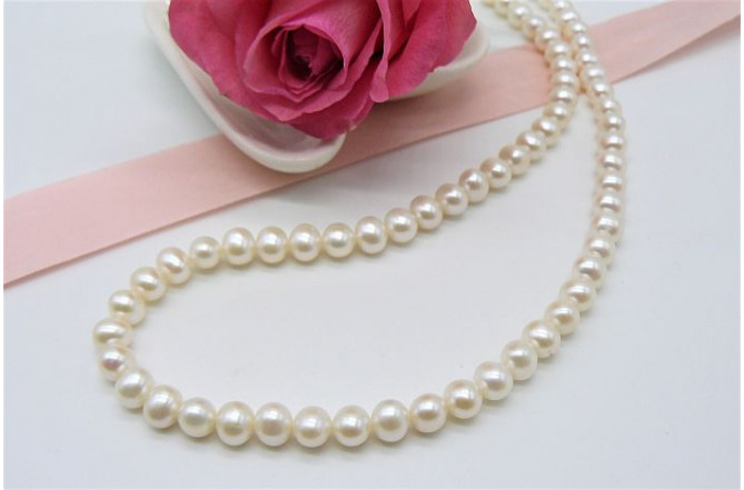 Childrens' White Small Round Pearl Necklace