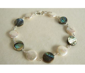 White Coin Pearl & Abalone Bracelet