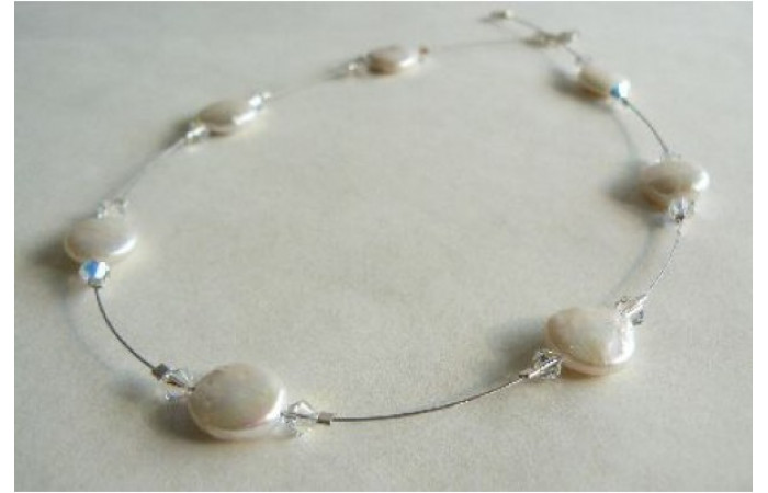 White Coin Pearls & Crystals on Wire