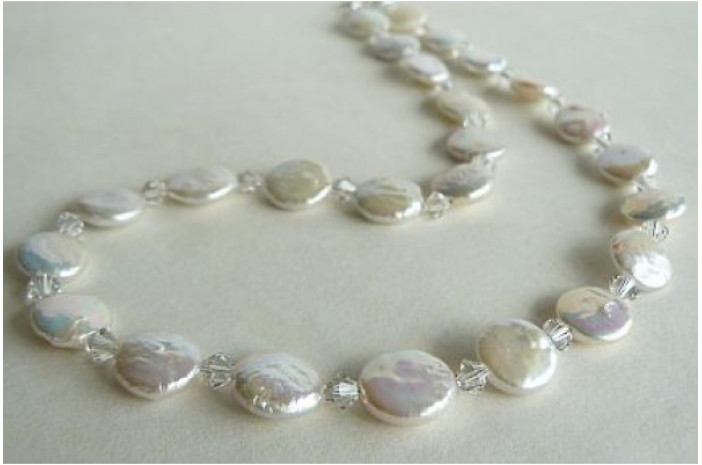 White Coin Pearl & Crystal Necklace