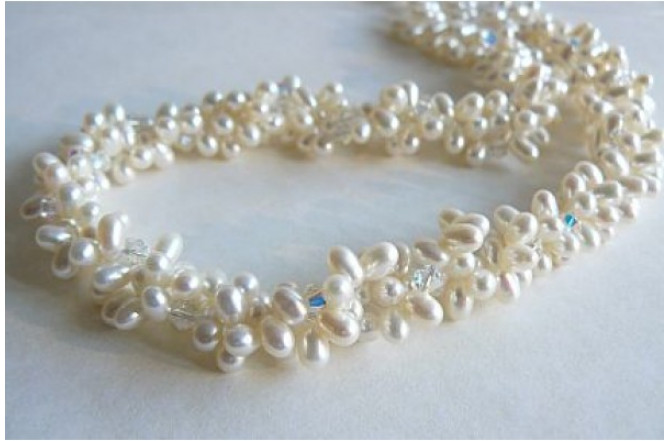 Three Strand White Head-Drill Pearl & Crystal Twisted Necklace