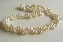 Two Strand White Head-Drill Pearl & Crystal Twisted Necklace