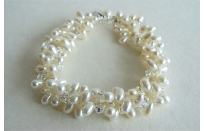 Three Strand White Head-Drill Pearl & Crystal Twisted Bracelet