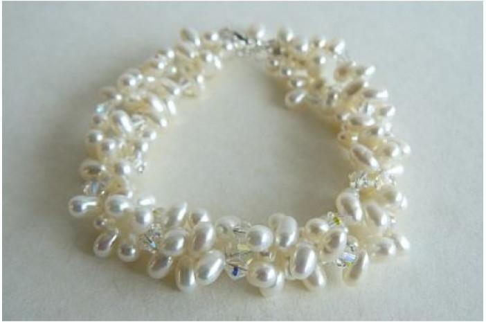 Three Strand White Head-Drill Pearl & Crystal Twisted Bracelet