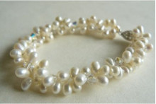 Two Strand White Head-drill Pearl & Crystal Bracelet