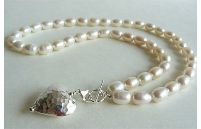White Large Oval Pearl Necklace & Detachable Silver Heart