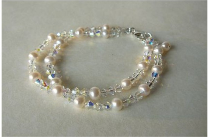 White Round Pearl & Crystal Two Strand Bracelet