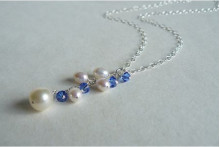 White Pearl & Blue Swarovski Crystal Cluster Necklace on Silver Chain