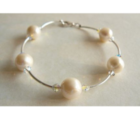 White Round Pearl & Crystal Bangle Bracelet