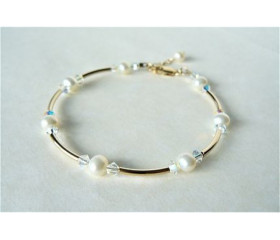 White Small Round Pearl & Crystal Gold Bangle Bracelet