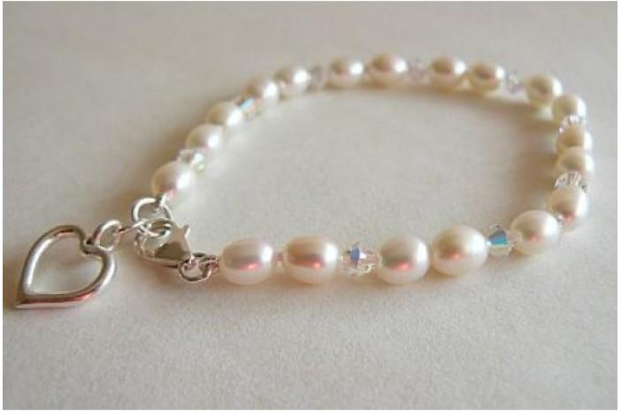 White Pearl & Crystal Bracelet & Open Heart