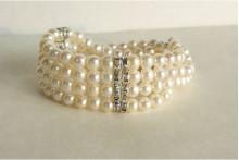 White Pearl & Diamante Rondel Cuff Bracelet