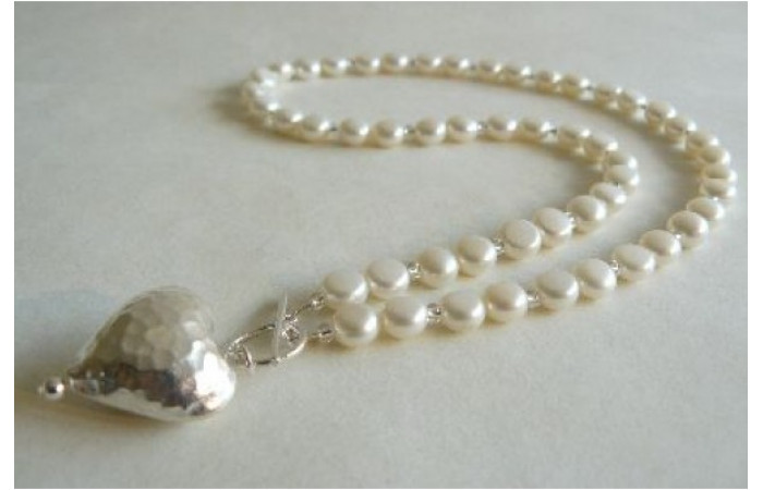 White Pearl & Thai Silver Hammered Heart Necklace