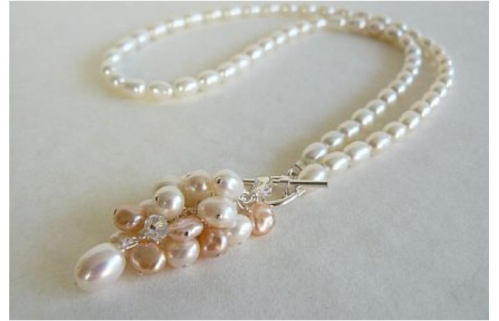 White & Peach Pearl Toggle Drop Cluster Necklace