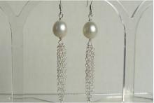White Pearl & Silver Chain Tassel Drop Earrings