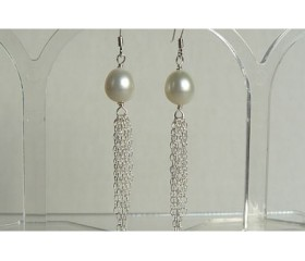 White Pearl & Silver Chain Tassel Drop Earrings