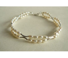 White Pearl Double Bangle Bracelet