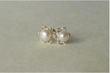 White Pearl Silver Petal Stud Earrings