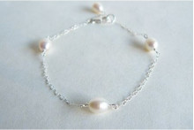 White Pearls on Small Silver Chain Bracelet