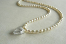 White Smallest Oval Pearls & White Heart Necklace