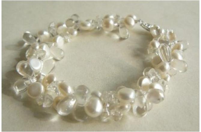 White Pearl & Glass Bead Multistrand Bracelet