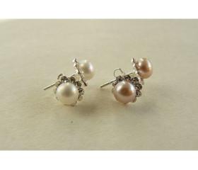 White Pearl & Pink Pearl Crystal Stud Earrings