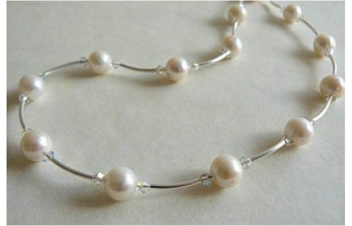 White Round Pearl & Crystal Curved Tube Necklace