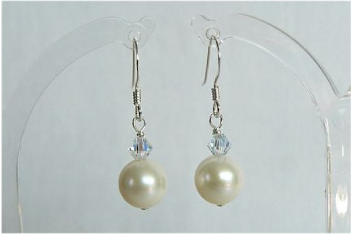 White Round Pearl & Crystal Drop Earrings