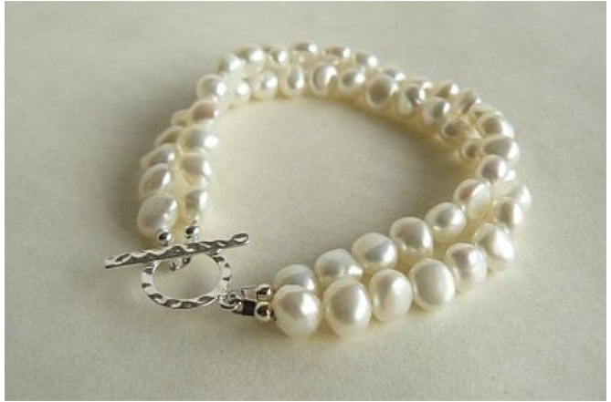 White Pearl & Hammered Toggle Clasp Two Strand Bracelet
