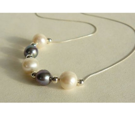White & Grey Pearl Necklace on Fine Silver Chain