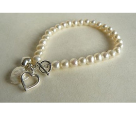 White Small Round Pearl Bracelet with Silver & Pearl Heart Drops