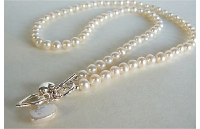 White Small Round Pearl Necklace with Silver & Pearl Heart Drops