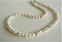 White Small Baroque Pearl Necklace with Gold or Silver Bead