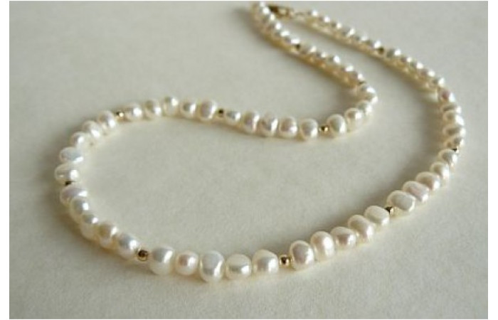 White Pearl & Silver or Gold Bead Necklace