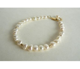 White Small Baroque Pearl Bracelet with Gold or Silver Bead