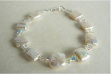 White Square Pearls & Crystal Bracelet