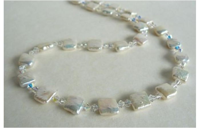 White Square Pearls & Crystal Necklace