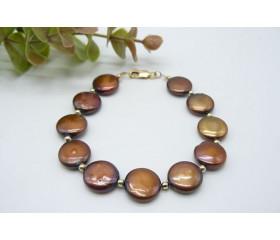 Bronze Coin Pearl & Gold Bead Bracelet