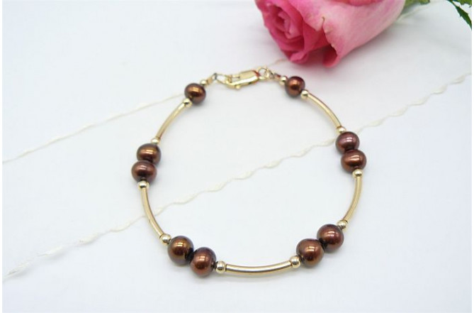 Bronze Small Round Pearl & Gold Curved Tube Bracelet